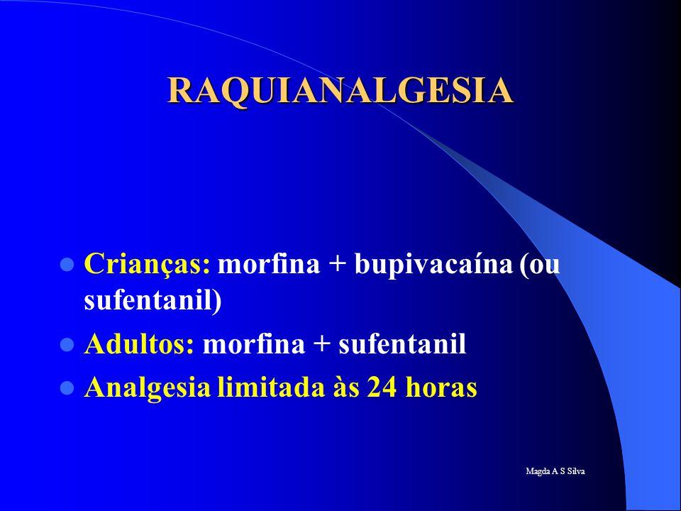 RAQUIANALGESIA Crianças: morfina + bupivacaína (ou sufentanil)