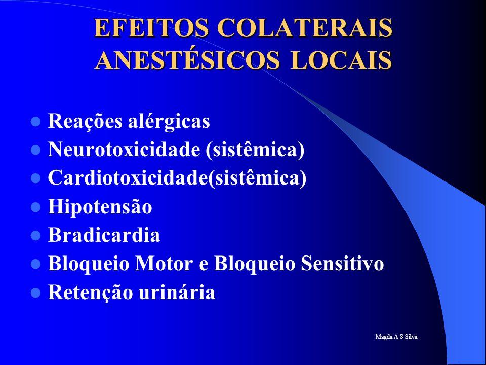 EFEITOS COLATERAIS ANESTÉSICOS LOCAIS