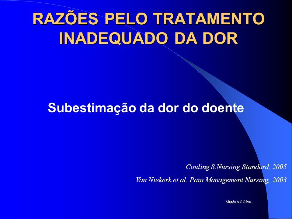 RAZÕES PELO TRATAMENTO INADEQUADO DA DOR