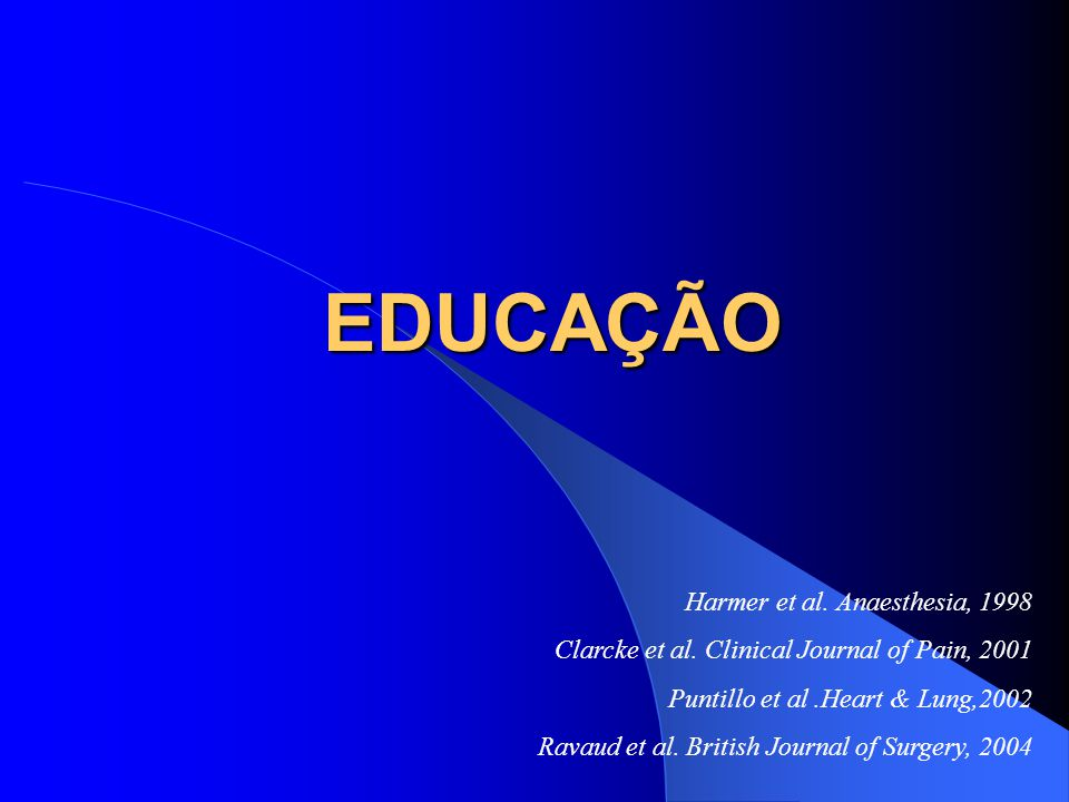 EDUCAÇÃO Harmer et al. Anaesthesia, 1998