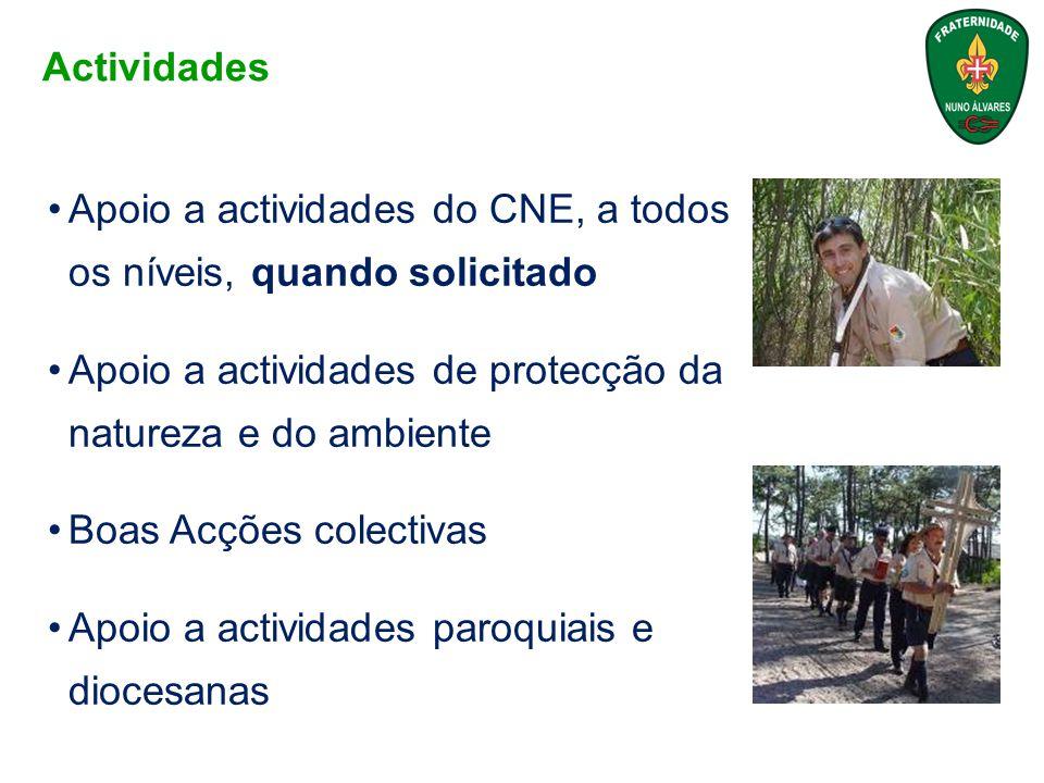 Actividades Apoio a actividades do CNE, a todos os níveis, quando solicitado. Apoio a actividades de protecção da natureza e do ambiente.