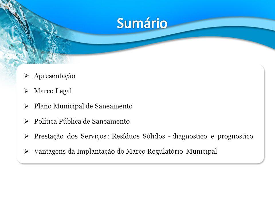Sumário Apresentação Marco Legal Plano Municipal de Saneamento