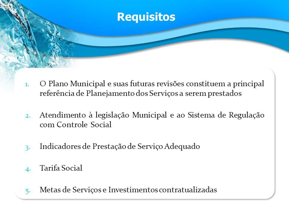 Requisitos O Plano Municipal e suas futuras revisões constituem a principal referência de Planejamento dos Serviços a serem prestados.