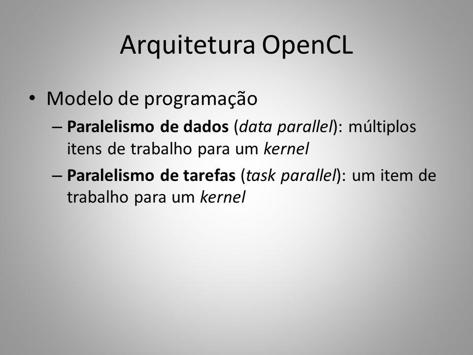 Arquitetura OpenCL Modelo de programação