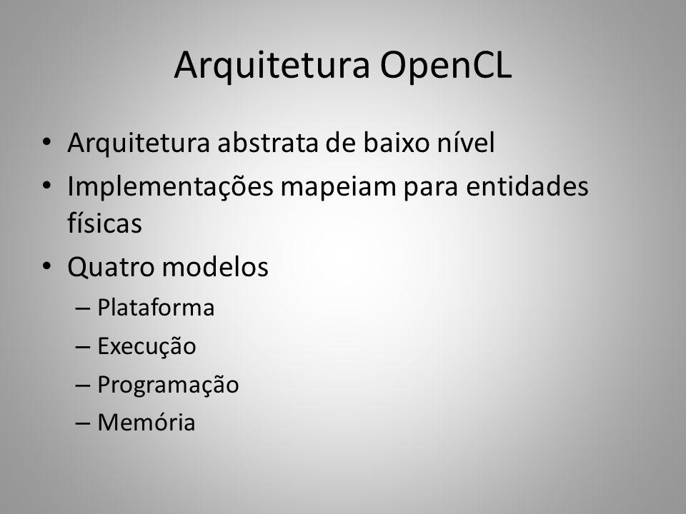 Arquitetura OpenCL Arquitetura abstrata de baixo nível