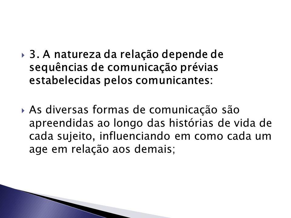 3. A natureza da relação depende de sequências de comunicação prévias estabelecidas pelos comunicantes: