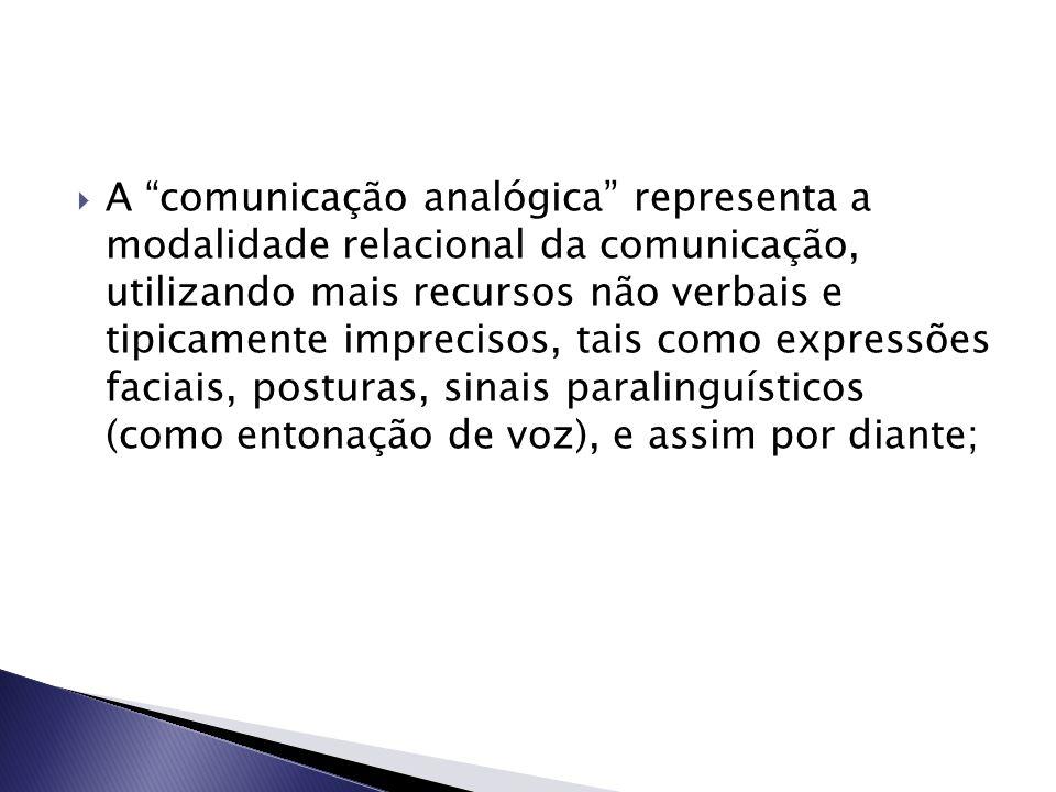 A comunicação analógica representa a modalidade relacional da comunicação, utilizando mais recursos não verbais e tipicamente imprecisos, tais como expressões faciais, posturas, sinais paralinguísticos (como entonação de voz), e assim por diante;
