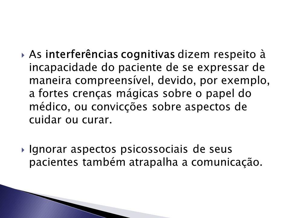 As interferências cognitivas dizem respeito à incapacidade do paciente de se expressar de maneira compreensível, devido, por exemplo, a fortes crenças mágicas sobre o papel do médico, ou convicções sobre aspectos de cuidar ou curar.