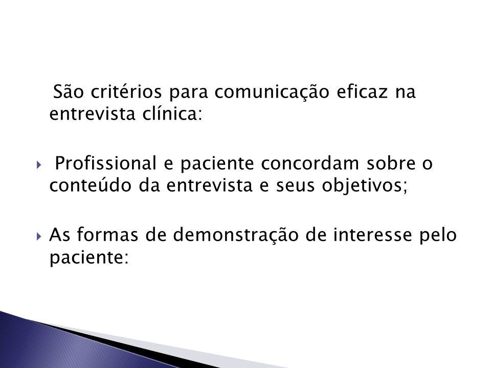 São critérios para comunicação eficaz na entrevista clínica:
