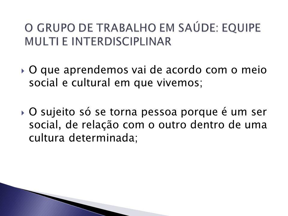 O GRUPO DE TRABALHO EM SAÚDE: EQUIPE MULTI E INTERDISCIPLINAR
