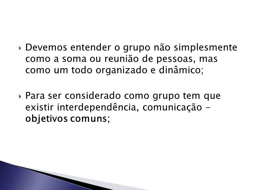 Devemos entender o grupo não simplesmente como a soma ou reunião de pessoas, mas como um todo organizado e dinâmico;