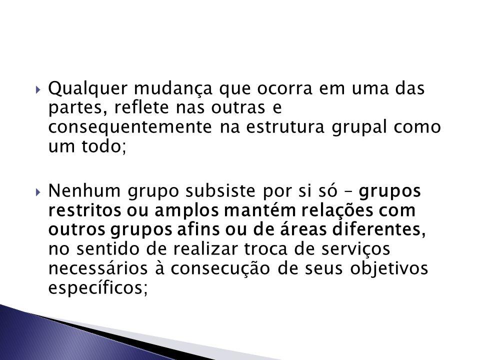 Qualquer mudança que ocorra em uma das partes, reflete nas outras e consequentemente na estrutura grupal como um todo;