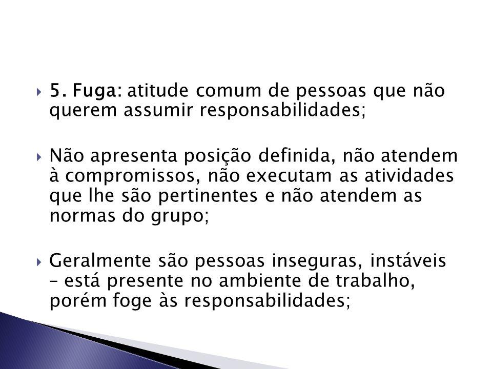 5. Fuga: atitude comum de pessoas que não querem assumir responsabilidades;