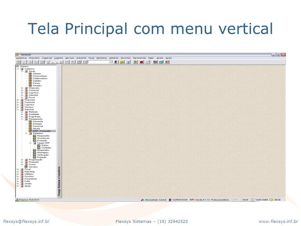 Tela Principal com menu vertical