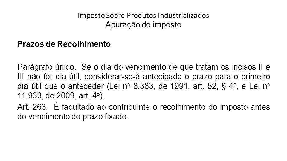 Imposto Sobre Produtos Industrializados Apuração do imposto