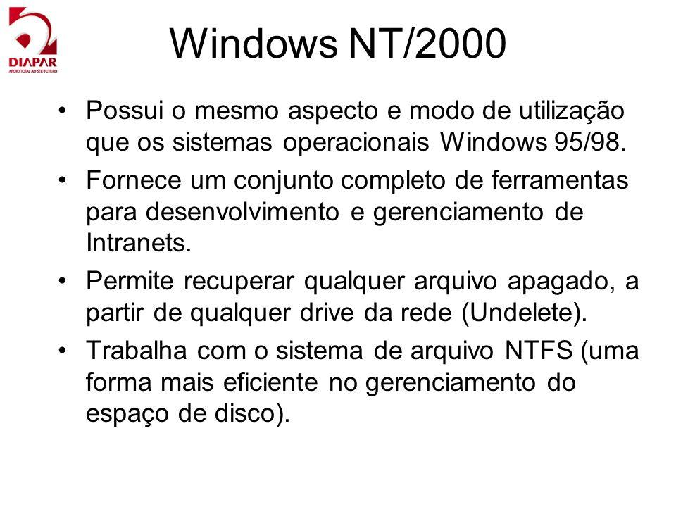 Windows NT/2000 Possui o mesmo aspecto e modo de utilização que os sistemas operacionais Windows 95/98.