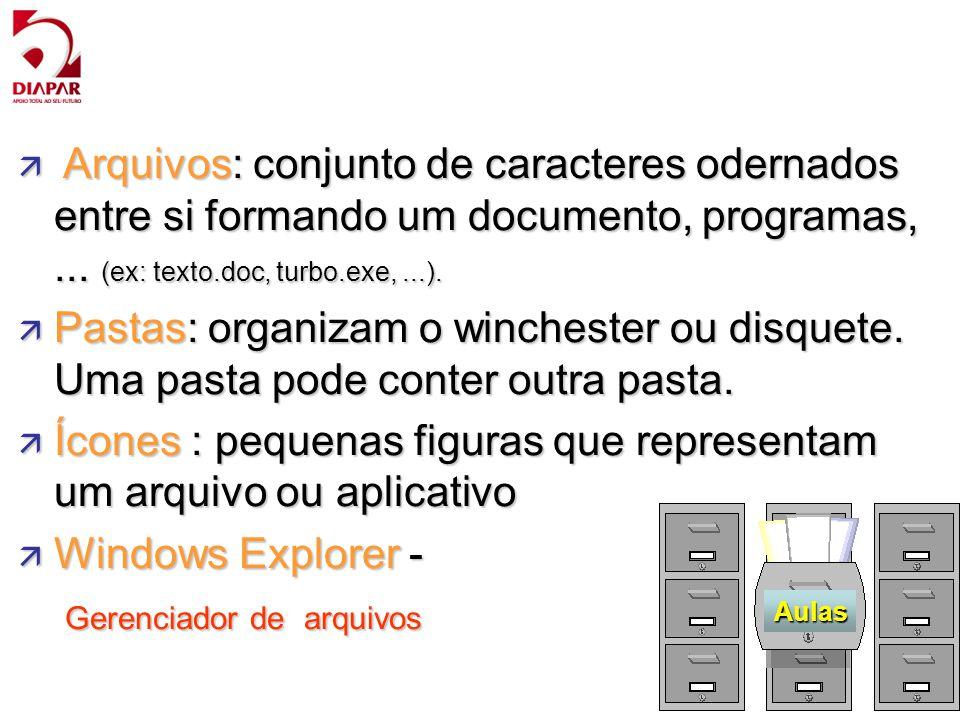 Ícones : pequenas figuras que representam um arquivo ou aplicativo