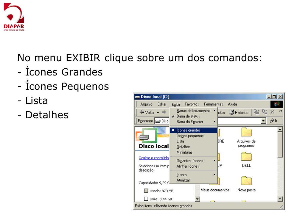 No menu EXIBIR clique sobre um dos comandos: