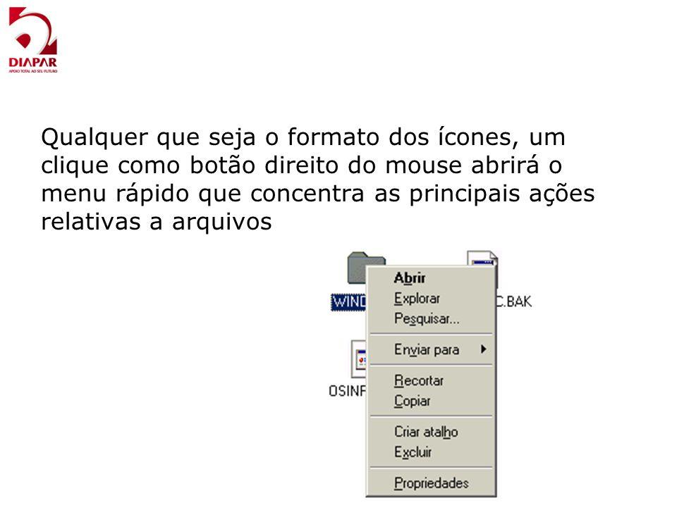 Qualquer que seja o formato dos ícones, um clique como botão direito do mouse abrirá o menu rápido que concentra as principais ações relativas a arquivos