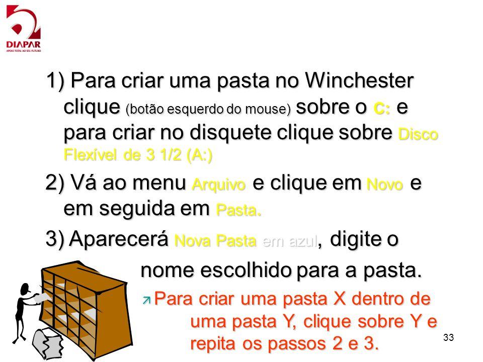 2) Vá ao menu Arquivo e clique em Novo e em seguida em Pasta.