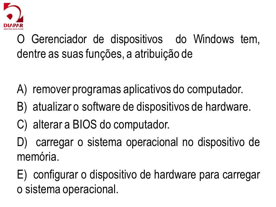 O Gerenciador de dispositivos do Windows tem, dentre as suas funções, a atribuição de