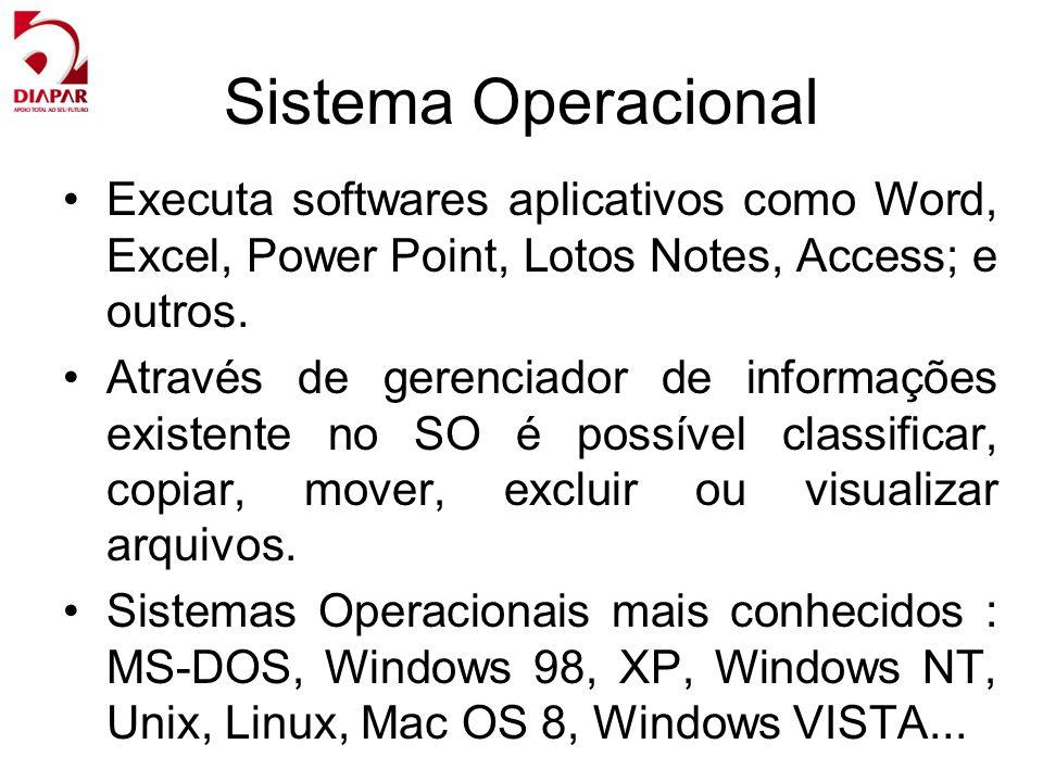 Sistema Operacional Executa softwares aplicativos como Word, Excel, Power Point, Lotos Notes, Access; e outros.