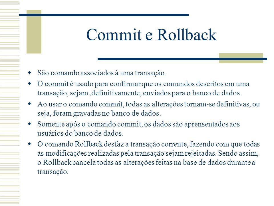 Commit e Rollback São comando associados à uma transação.