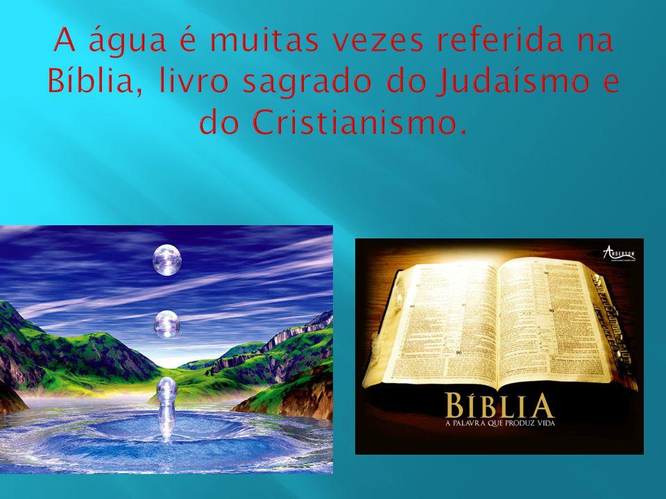 A água é muitas vezes referida na Bíblia, livro sagrado do Judaísmo e do Cristianismo.