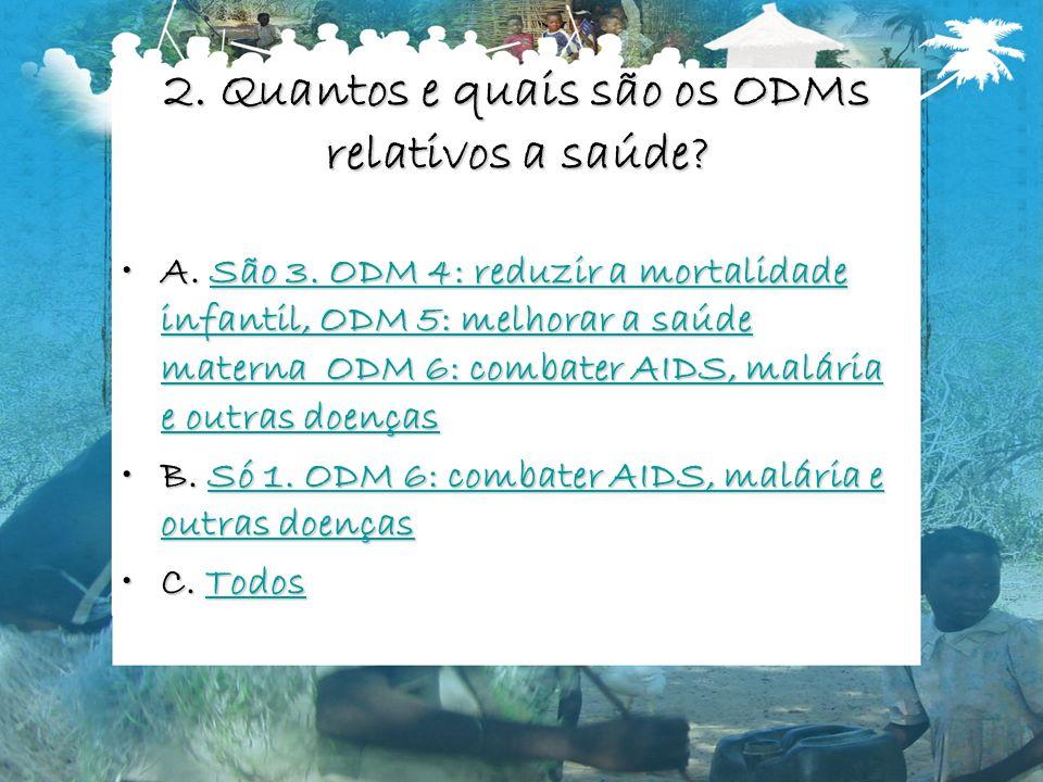 2. Quantos e quais são os ODMs relativos a saúde