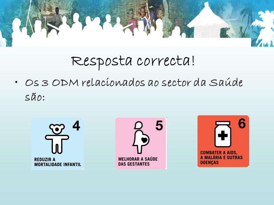 Resposta correcta! Os 3 ODM relacionados ao sector da Saúde são: