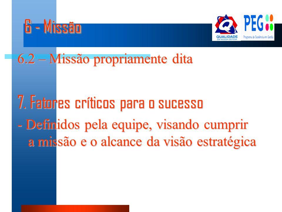 7. Fatores críticos para o sucesso