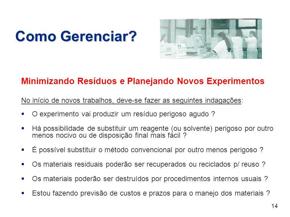 Como Gerenciar Minimizando Resíduos e Planejando Novos Experimentos
