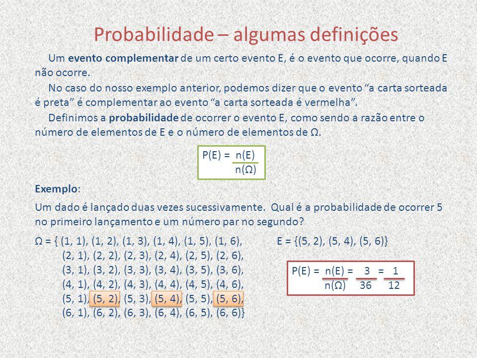 Probabilidade – algumas definições