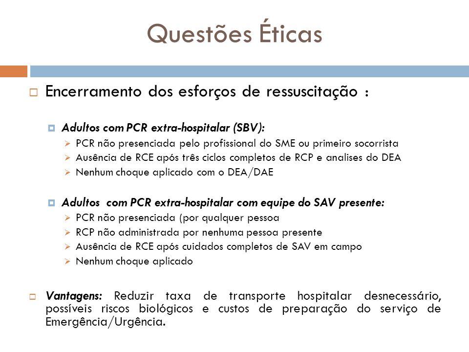 Questões Éticas Encerramento dos esforços de ressuscitação :