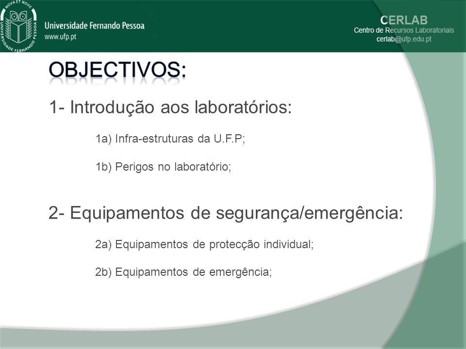 Objectivos: 1- Introdução aos laboratórios: