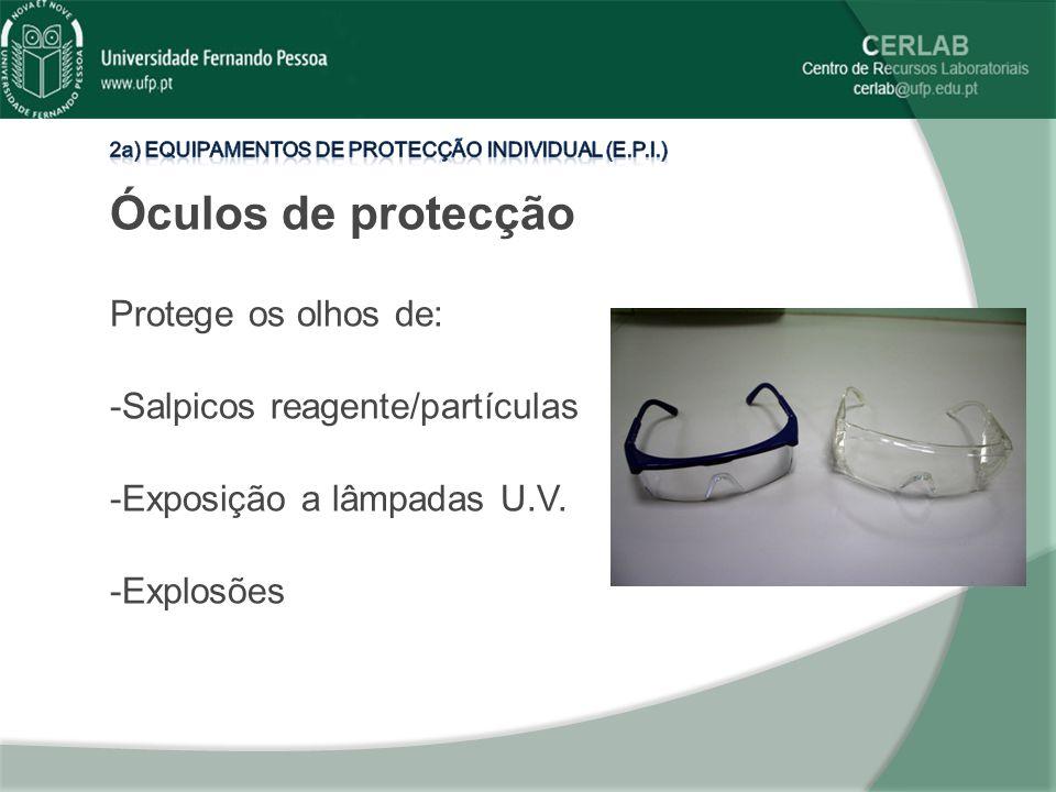 Óculos de protecção Protege os olhos de: -Salpicos reagente/partículas