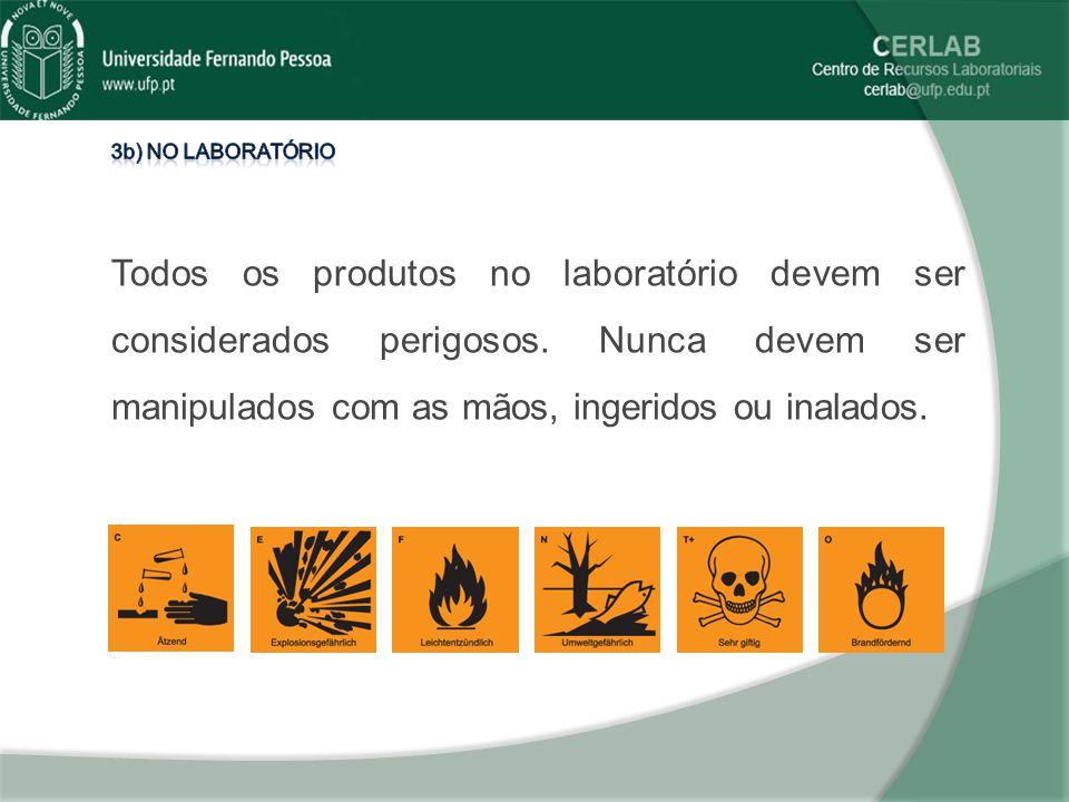 3b) No laboratório Todos os produtos no laboratório devem ser considerados perigosos.