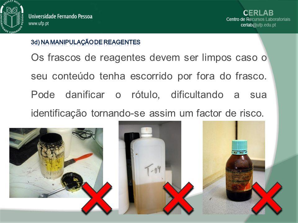 3d) Na manipulação de reagentes