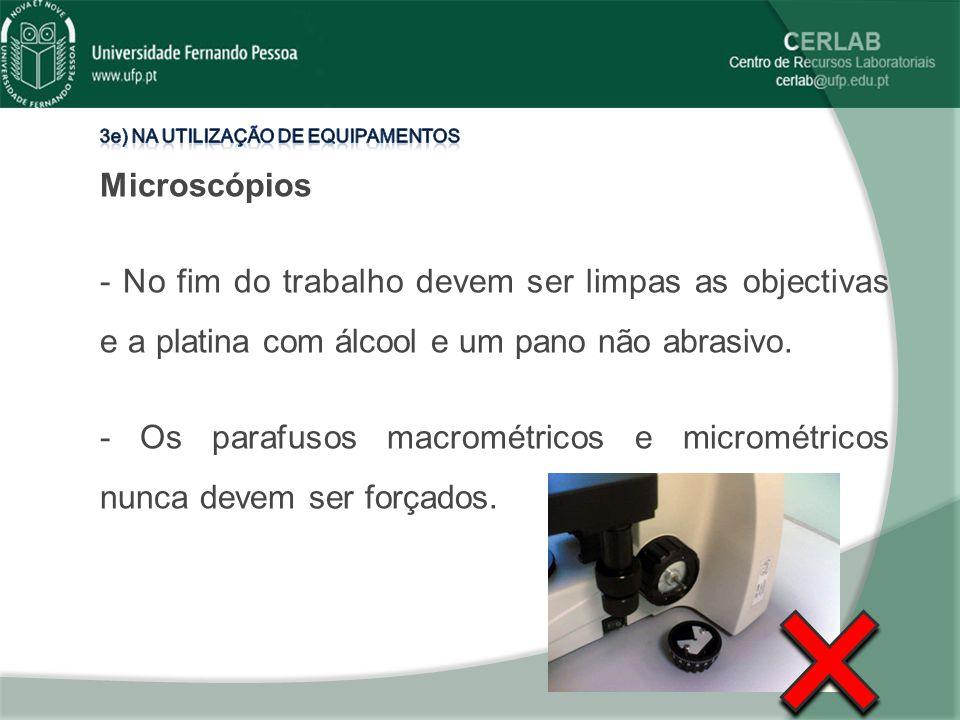 - Os parafusos macrométricos e micrométricos nunca devem ser forçados.