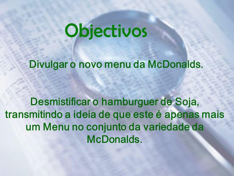 Divulgar o novo menu da McDonalds.