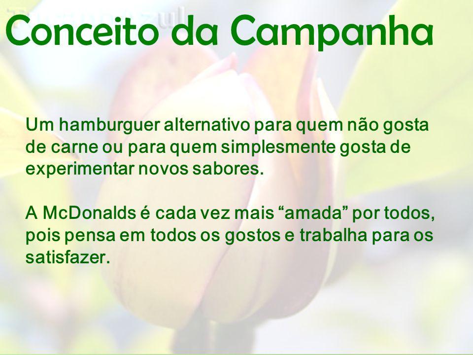 Conceito da Campanha Um hamburguer alternativo para quem não gosta de carne ou para quem simplesmente gosta de experimentar novos sabores.