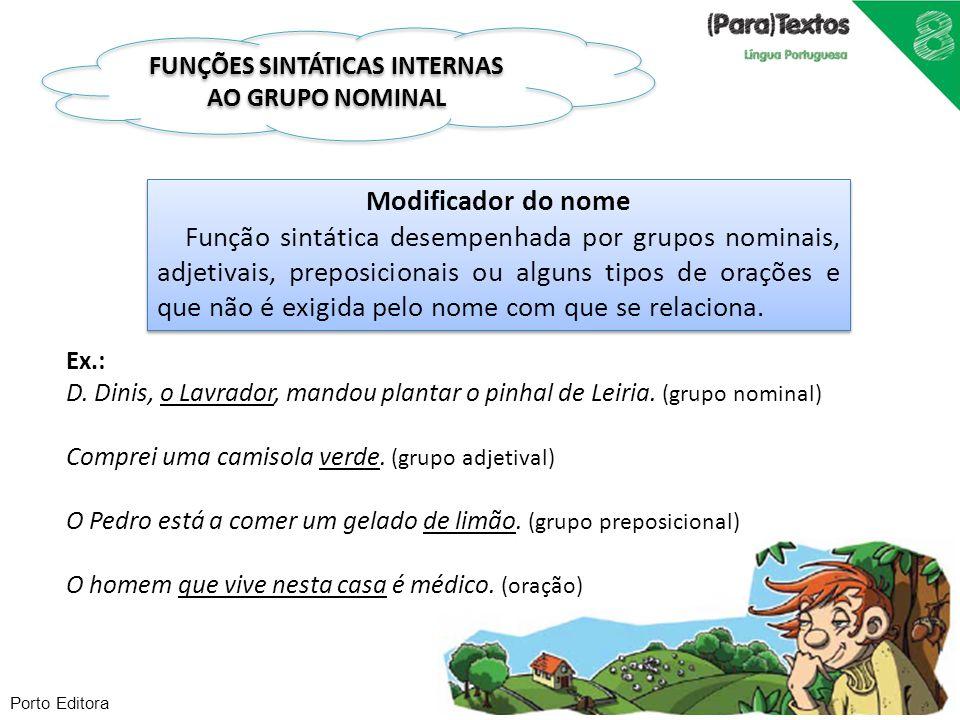 FUNÇÕES SINTÁTICAS INTERNAS AO GRUPO NOMINAL