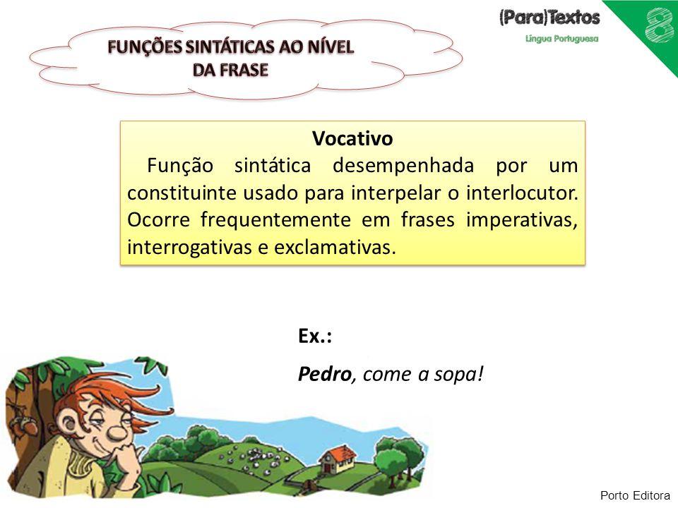 FUNÇÕES SINTÁTICAS AO NÍVEL DA FRASE