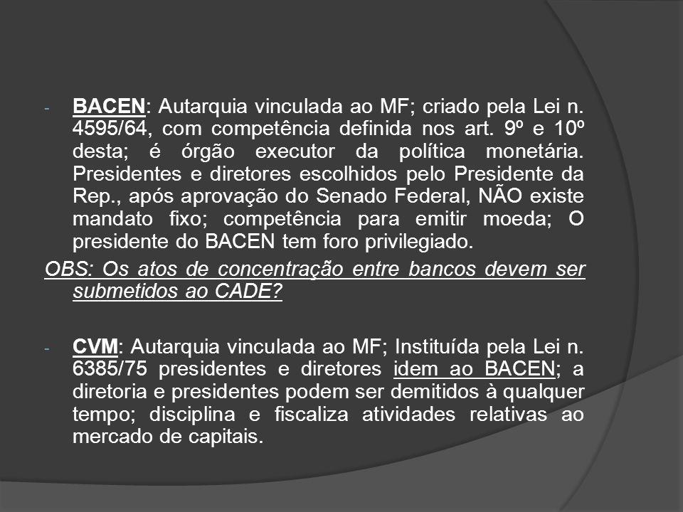 BACEN: Autarquia vinculada ao MF; criado pela Lei n