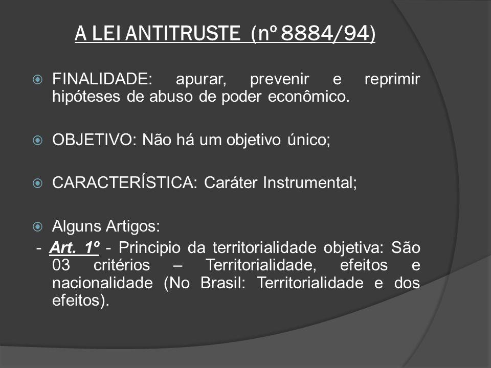 A LEI ANTITRUSTE (nº 8884/94) FINALIDADE: apurar, prevenir e reprimir hipóteses de abuso de poder econômico.