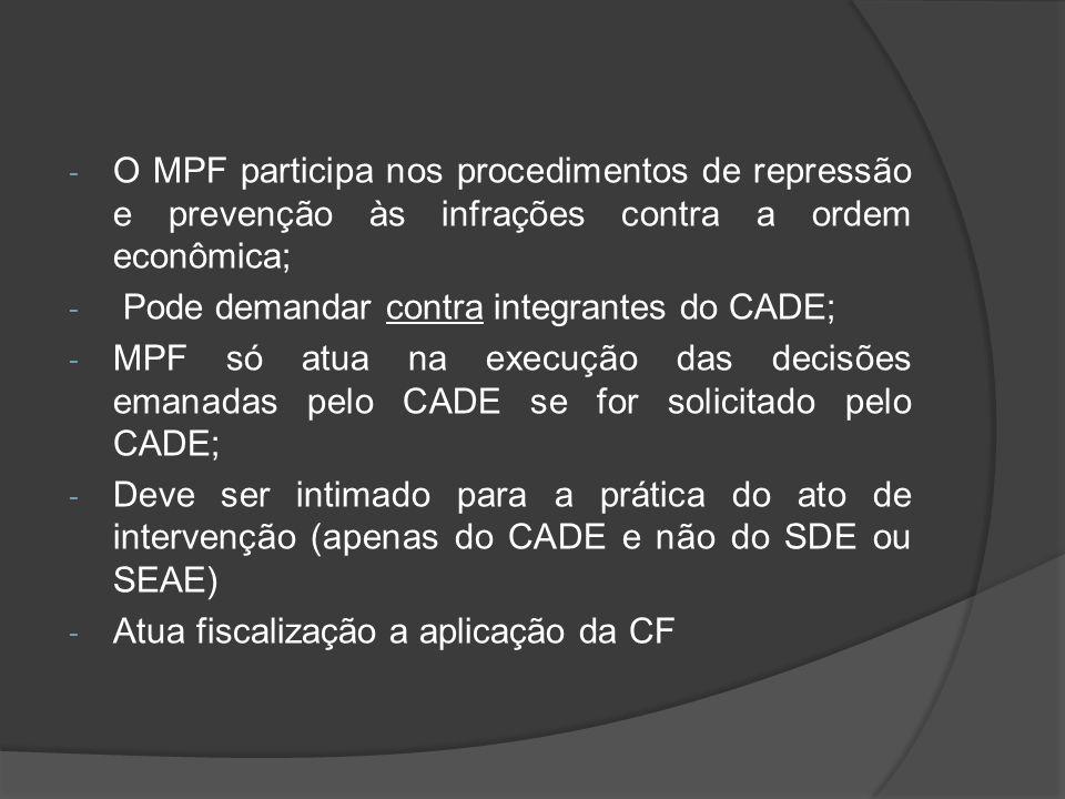 O MPF participa nos procedimentos de repressão e prevenção às infrações contra a ordem econômica;