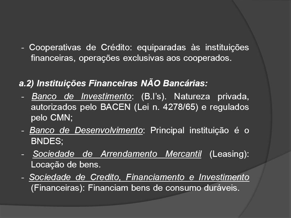 - Cooperativas de Crédito: equiparadas às instituições financeiras, operações exclusivas aos cooperados.