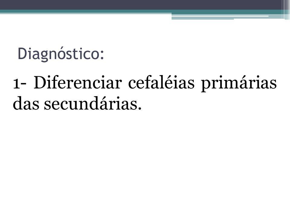 1- Diferenciar cefaléias primárias das secundárias.