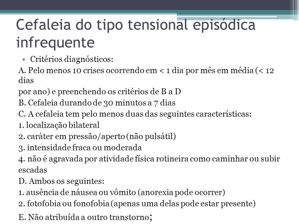 Cefaleia do tipo tensional episódica infrequente