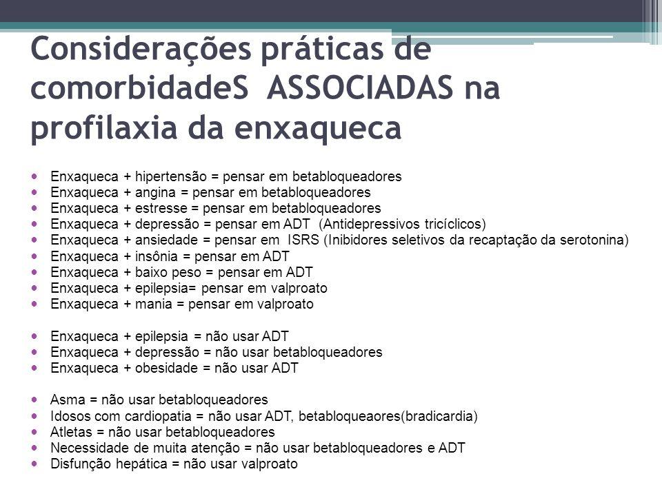 Considerações práticas de comorbidadeS ASSOCIADAS na profilaxia da enxaqueca